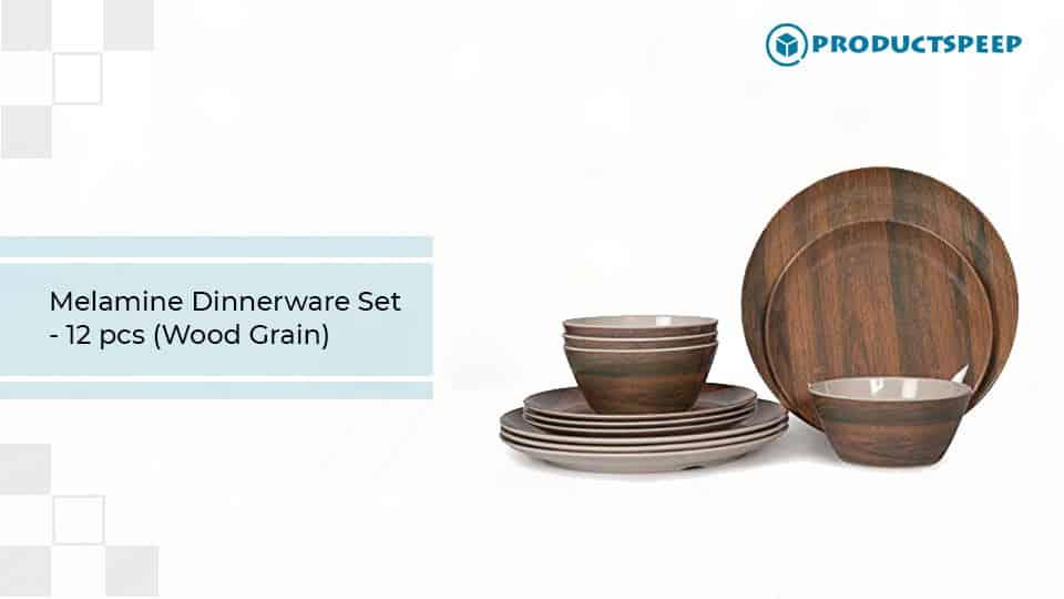 Best dinner sets - Melamine Dinnerware Set with wood grain