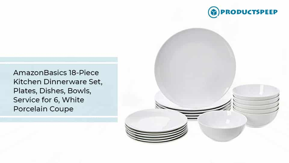 AmazonBasics 18-Piece Kitchen Dinnerware Set, white porcelain