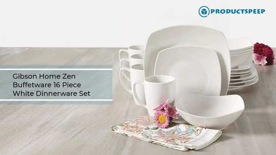 Best dinner set - Gibson Home Zen Buffetware 16 Piece Dinnerware Set, White
