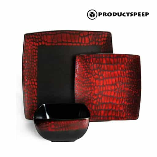 American Atelier  Red and Black Square Dinnerware Sets