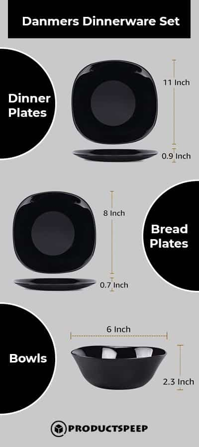Black square Dinnerware Sets infographic