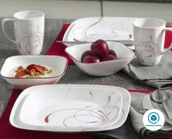 Corelle Square 16-Piece white Dinnerware Set, Splendor, Service for 4