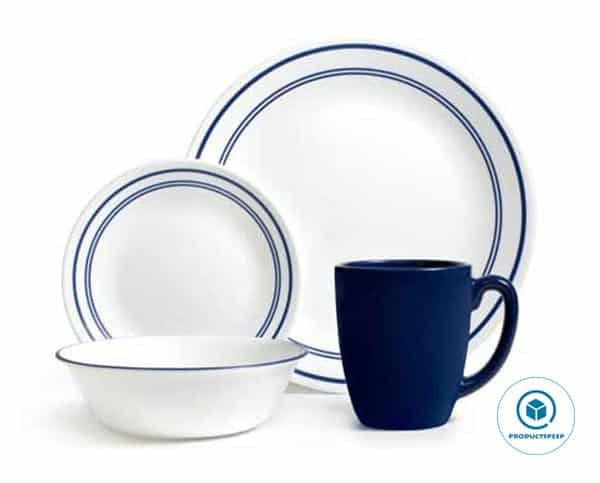 Corelle Livingware 16-Piece Dinnerware Set Service for 4 (1092894), Classic Cafe Blue,