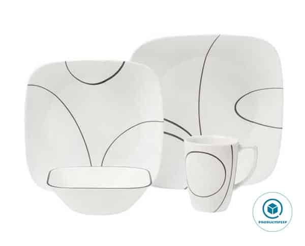 CORELLE 1092887 Simple Lines 16-Piece White Square Dinnerware Set, Service for 4, Black/White