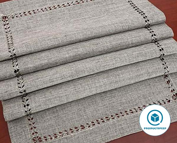 Grelucgo Set of 4 Decorative Handmade Hemstitch Gray Dining Table Placemats