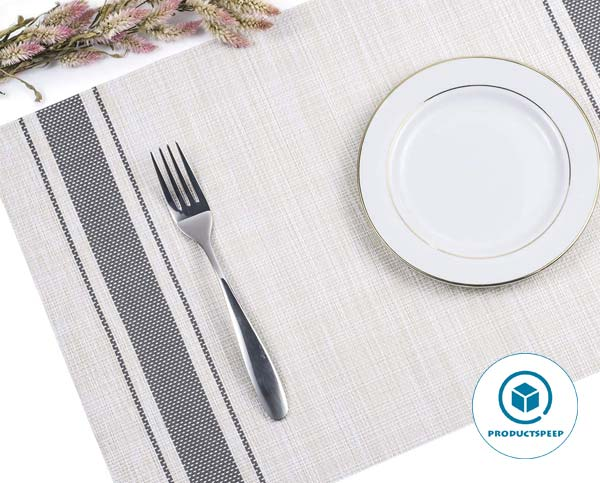 Woven Vinyl Placemats Set of 4 - Mats for dining table