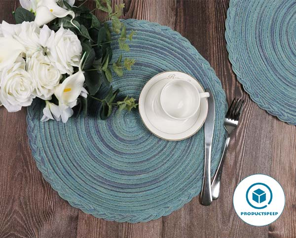 U'Artlines 15 Inch Round Cotton Placemat set for 4