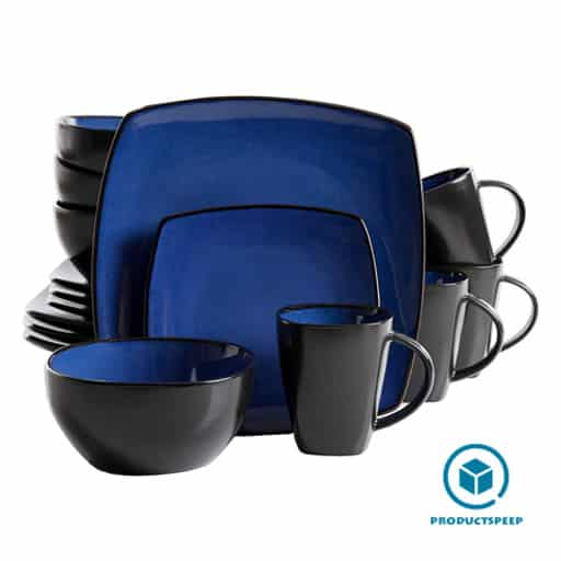 blue and black square dinnerware set