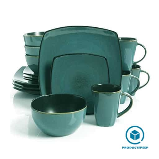teal and black square dinnerware set